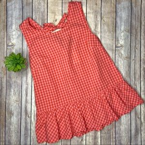 J Crew Peplum Gingham Bow Back Tank Top S